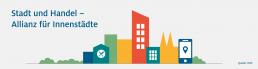 HDE Grafik zu Stadt und Handel - Allianz für Innenstädte. Silhouette von Häusern und einem Mobiltelefon mit Standortpunkt.