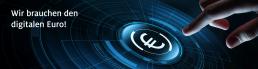 Bild zum digitalen Euro. Ein weiß leuchtendes Eurozeichen auf blauer Fläche und eine Hand, die dabei ist ihn anzutippen.